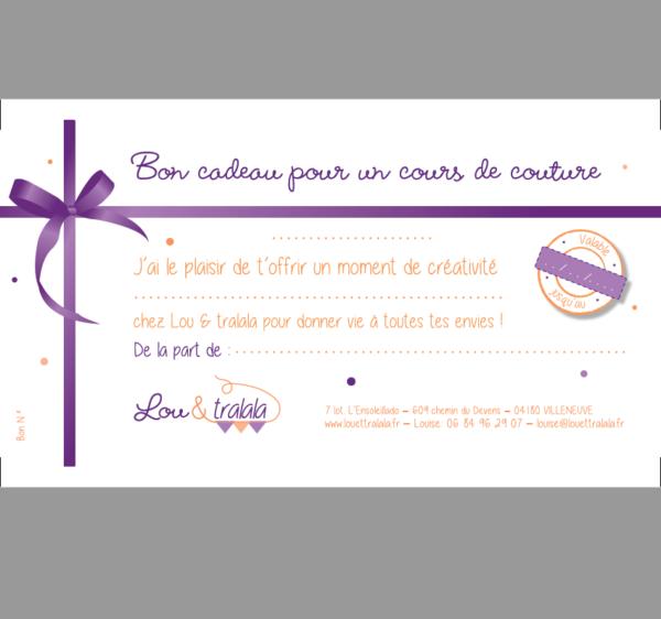 Carte cadeau Cours de couture de 3h Lou & tralala